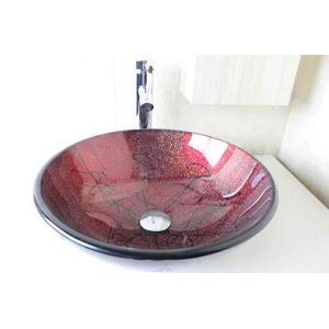 Modern Fashion Round Dark Red Tempered Glass Basin