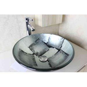Modern Fashion Round Silver-Grey Tempered Glass Basin