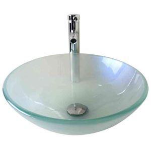 Modern Fashion Round Scrub Tempered Glass Basin High-bending Faucet Set