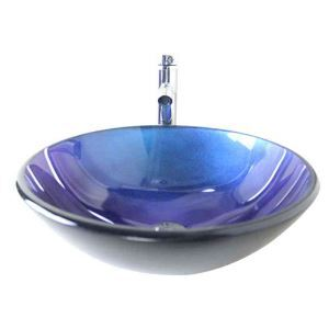 Modern Fashion Round Deep Blue Tempered Glass Basin High-bending Faucet Set