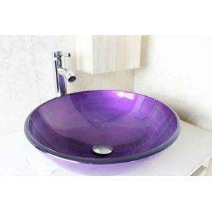 Modern Fashion Round Purple Tempered Glass Basin High-bending Faucet Set