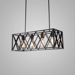 Nordic Retro Creative Geometric Iron Craft Pendant Light Cafe Restaurant Bar Lighting 4 Lights