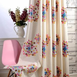American Modern Curtain Circle Embroidery Curtain Environment Protective Cotton Linen Fabric(One Panel)