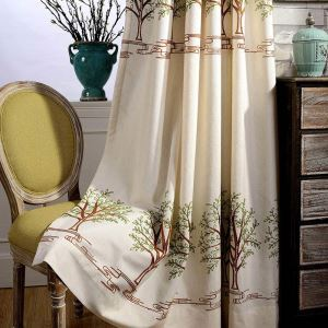 Modern Simple Curtain Uv-proof Embroidery Curtain Soft Cotton Linen Fabric(One Panel)