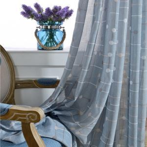Nordic Simple Sheer Curtain Unique Blue Printed Sheer Curtain Breathable Fabric(One Panel)