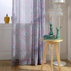 American Antique Sheer Curtain Bedroom Sheer Curtain Unique Colorful Printed Breathable Fabric(One Panel)