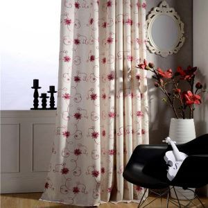 American Simple Curtain Red Embroidery Curtain Uv-proof Cotton Linen Fabric(One Panel)
