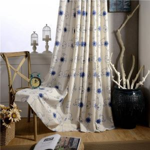 American Simple Curtain Blue Embroidery Curtain Insulated Soft Cotton Linen Fabric(One Panel)