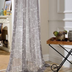 Nordic Simple Curtain Gray Branch Printed Curtain Living Room Study Versatile Fabric(One Panel)