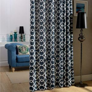 Nordic Simple Curtain Cotton Linen Embroidery Curtain Navy Blue Geometric Fabric(One Panel)