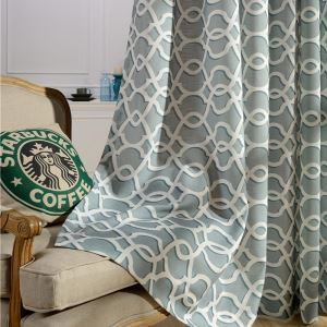 Nordic Simple Curtain Cotton Linen Embroidery Curtain Cyan Geometric Fabric(One Panel)