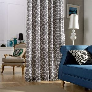 Nordic Simple Curtain Cotton Linen Embroidery Curtain Gray Geometric Fabric(One Panel)
