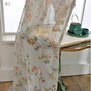 American Versatile Sheer Curtain Antique Garlands Printed Sheer Curtain Breathable Bedroom Fabric(One Panel)