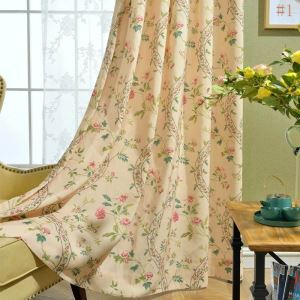 American Versatile Style Curtain Antique Garlands Printed Curtain Environment-friendly Polyester Cotton Fabric(One Panel)