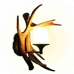 American Antique Village Resin Material Antlers Single Head Wall Light Scrub Lampshade
