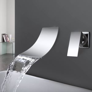 Waterfall Widespread Contemporary Bathroom Sink Faucet Chrome Finish (Only for UK Customer)