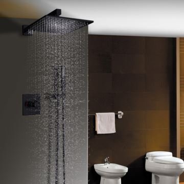Bathroom Shower Faucet Set Baking Varnish Black In Wall Shower Faucet