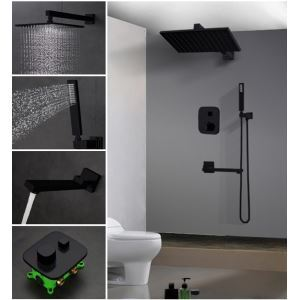 Bathroom Shower Faucet Set Baking Varnish Black  In-Wall Shower Faucet