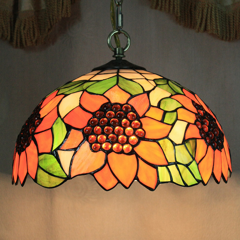 Lighting Tiffany Lights Chandeliers Pendant Light With 2 In Sunflower Patterned Shade