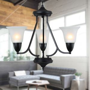 3 Light 21 inch Ceiling Light Fixture, Black