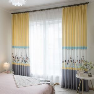 American Cartoon Curtain Insulated Wearproof Printed Curtain Semi Blackout Fabric(One Panel)