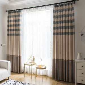 Amereican Antique Curtain Stripe Jarquard Curtain Living Room Study Blackout Fabric(One Panel)