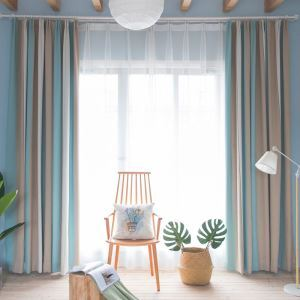 Simple Style Curtain Contrast Stripe Jarquard Curtain Environmental Protection Blackout Fabric(One Panel)