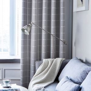 Modern Simple Curtain UV Proof Check Hemp Curtain Three-layer Woven Gray Blackout Fabric(One Panel)
