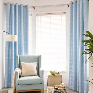 Modern Simple Check Curtain UV Proof Environmental Protection Curtain Three-layer Woven Blue Blackout Fabric(One Panel)