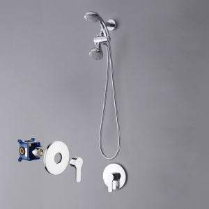 Bathroom Shower Faucet Set In-Wall Chrome with Hand Shower