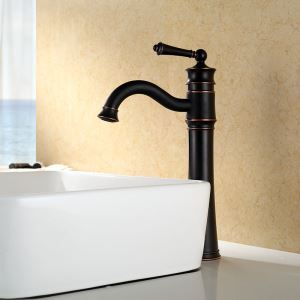 Vessel Bathroom Faucet Single Hole Single Handle Baking Varnish White Cold Water Faucet Tall