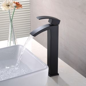 Vessel Bathroom Faucet Single Hole Single Handle Baking Varnish White Hot and Cold Water Dispenser Tall