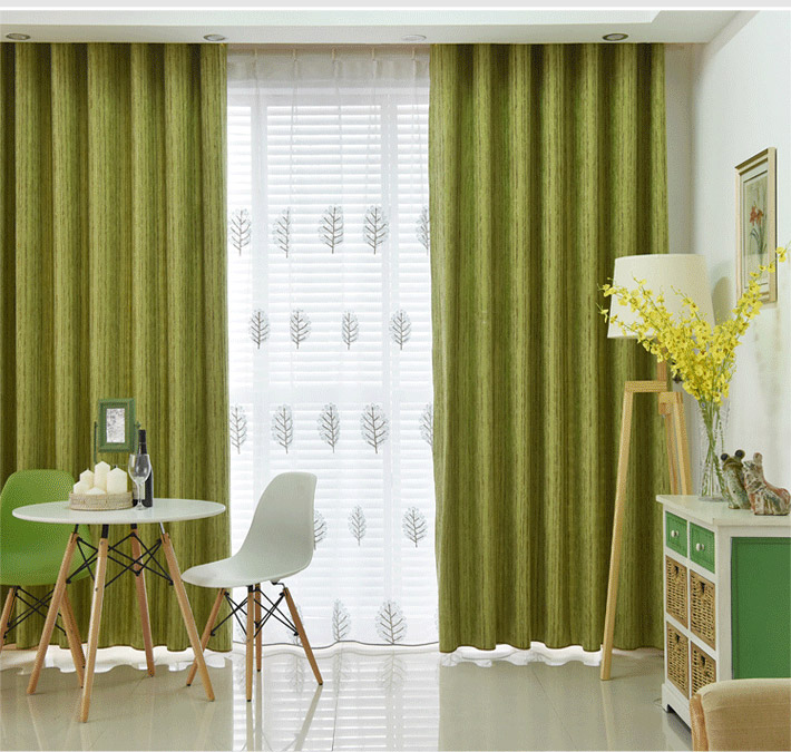 Modern Simple Solid Color Chenille Jacquard Stripes Advanced Custom Curtains Living Room Dining