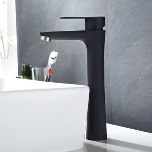 Centerset Bathroom Faucet Single Hole Single Handle Baking Varnish Matt Black Hot and Cold Water Dispenser Tall