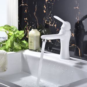 Centerset Bathroom Faucet Single Hole Single Handle Baking Varnish White Hot and Cold Water Faucet