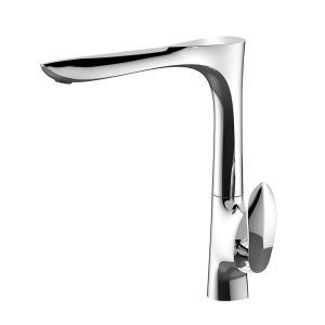 Vessel Bathroom Faucet Deck Mount Chrome Hot and Cold Water Dispenser Single Hole Single Handle Tall