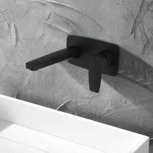 Vessel Bathroom Faucet Deck Mount Baking Varnish Matt Black Hot and Cold Water Dispenser