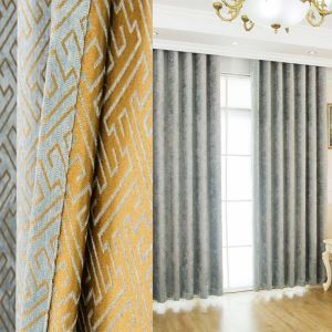 Nordic Abstract Style Curtain Maze Jarquard Living Room Curtain Bice Chenille Blackout Fabric(One Panel)