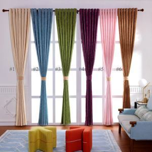 Modern Simple Curtain Special Chenille Thicken Curtain Solid Blackout Fabric(One Panel)