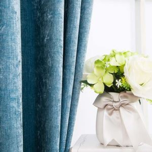 American Antique Style Curtain Chenille Solid Blue Curtain Living Room Study Blackout Fabric(One Panel)