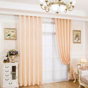 Japanese Simple Style Curtain Soft Chenille Solid Beige Curtain Ultraviolet-proof Semi Blackout Fabric(One Panel)