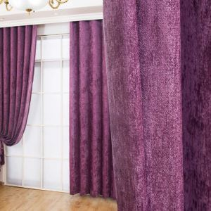 American Antique Style Curtain Chenille Solid Purple Curtain Bedroom Blackout Fabric(One Panel)
