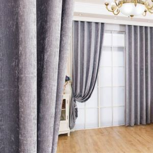 Modern Simple Chenille Curtain Soft Solid Gray Curtain Semi Blackout Fabric(One Panel)