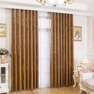 American Versatile Style Curtain Brown Chenille Curtain Insulated Ultraviolet-proof Semi Blackout Curtain(One Panel)