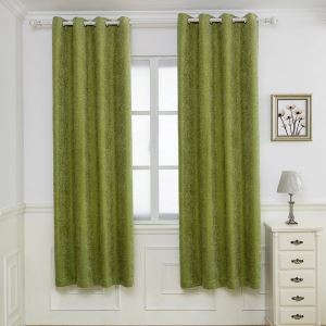 Nordic Modern Chenille Curtain Simple Green Spot Jacquard Curtain Blackout Fabric(One Panel)