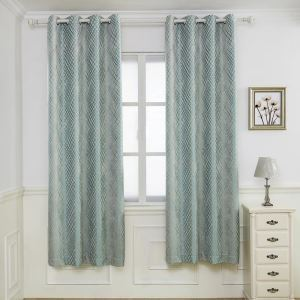 Nordic Modern Chenille Curtain Simple Diamond Check Jacquard Curtain Blackout Fabric(One Panel)