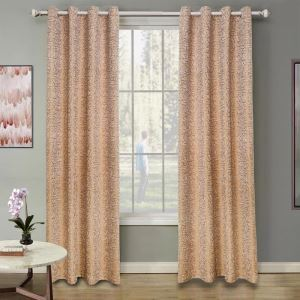 American Modern Chenille Curtain Yellow Rose Jacquard Curtain Blackout Fabric(One Panel)