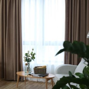 American Simple Style Curtain Cotton Linen Solid Brown Curtain Semi Blackout Curtain(One Panel)