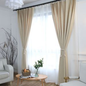 Japanese Simple Style Curtain Cotton Linen Solid Beige Curtain Semi Blackout Curtain(One Panel)
