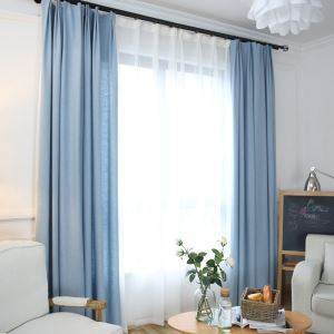 Modern Simple Cotton Linen Curtain Solid Blue Curtain Semi Blackout Curtain(One Panel)